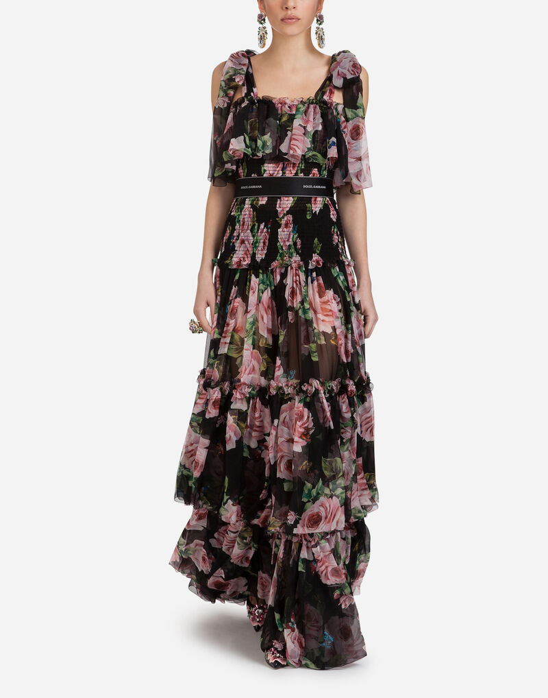 SILK CHIFFON LONG DRESS