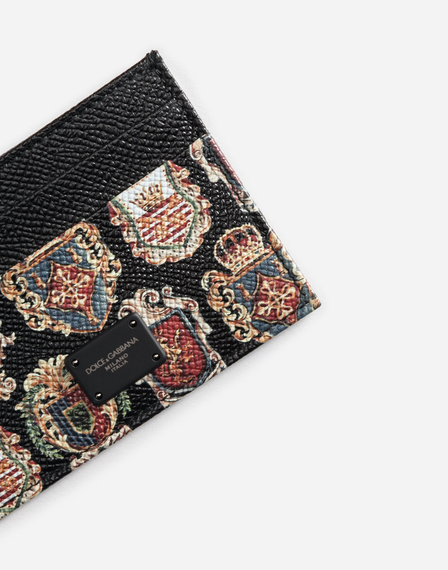 CARD HOLDER IN PRINTED DAUPHINE LEATHER