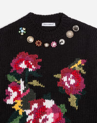WOOL SWEATER WITH EMBROIDERY AND BEJEWELED BUTTONS