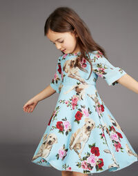 CREPE DE CHINE DRESS WITH MIMMO PRINT