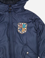 PRINTED NYLON DOWN JACKET WITH PATCH