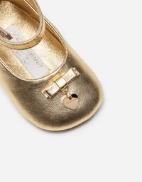 Dolce&Gabbana LEATHER BALLET FLATS WITH APPLIQUÉ