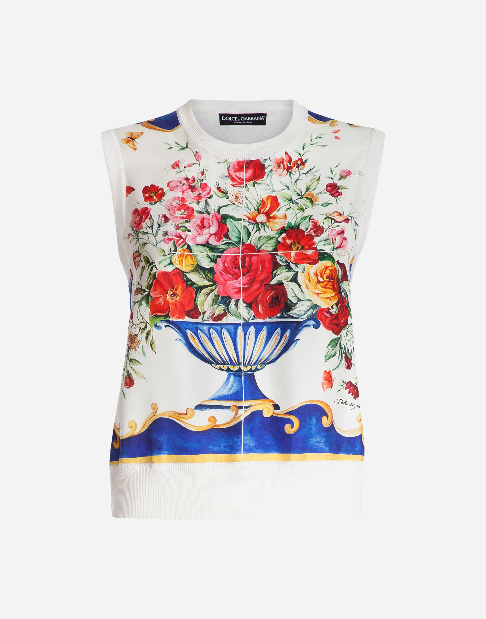 SLEEVELESS SWEATSHIRT WITH SILK FOULARD INSERT