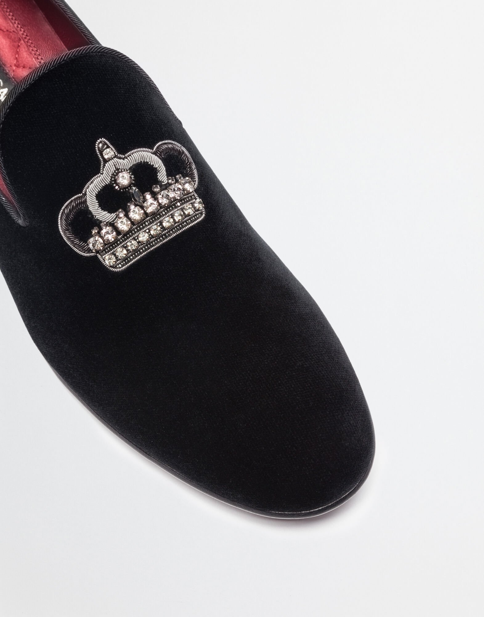 Dolce&Gabbana SLIPPERS IN VELVET WITH EMBROIDERY