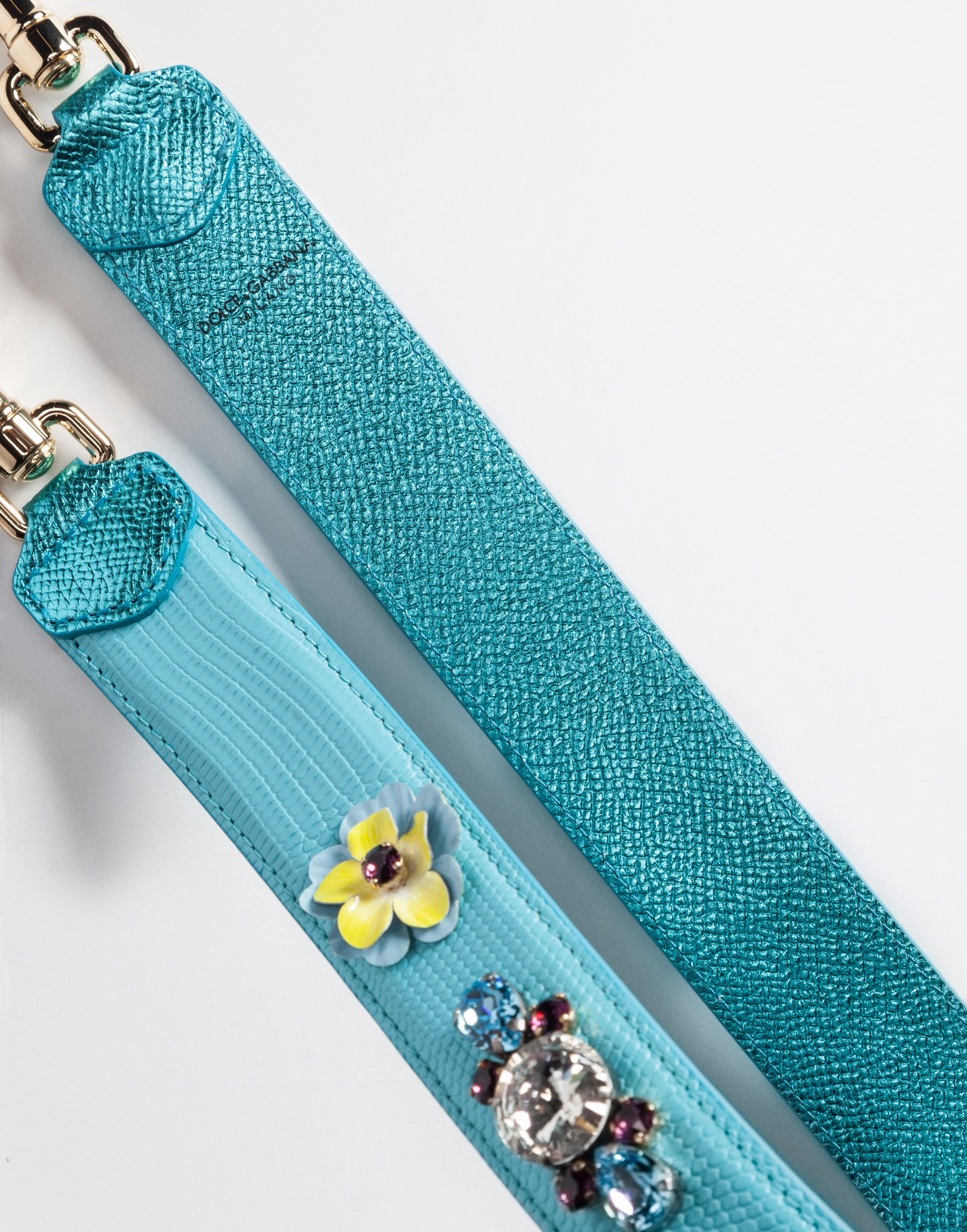 STRAP IN DAUPHINE LEATHER WITH APPLIQUÉS