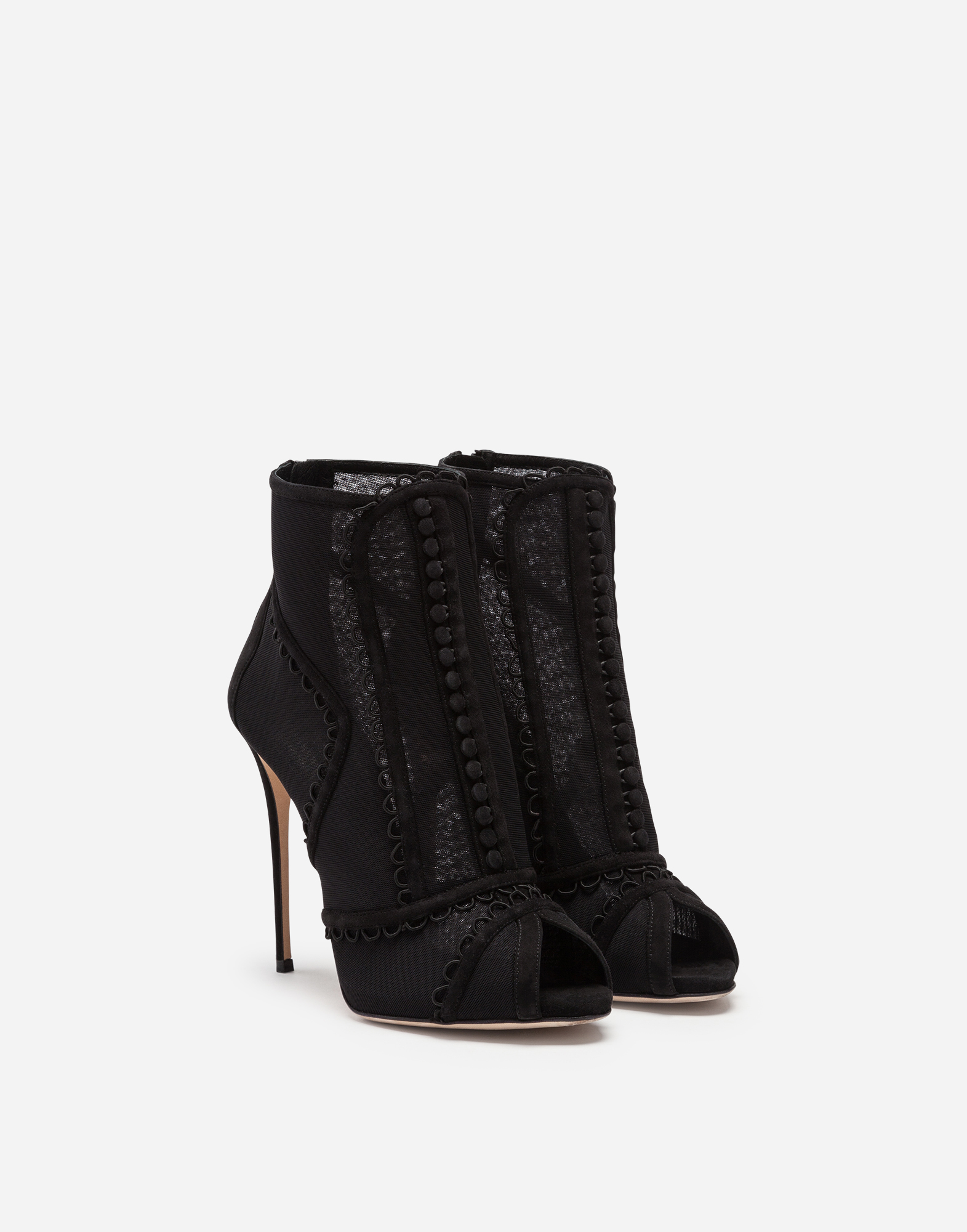 PEEP TOE ANKLE BOOTS IN SUEDE AND TULLE