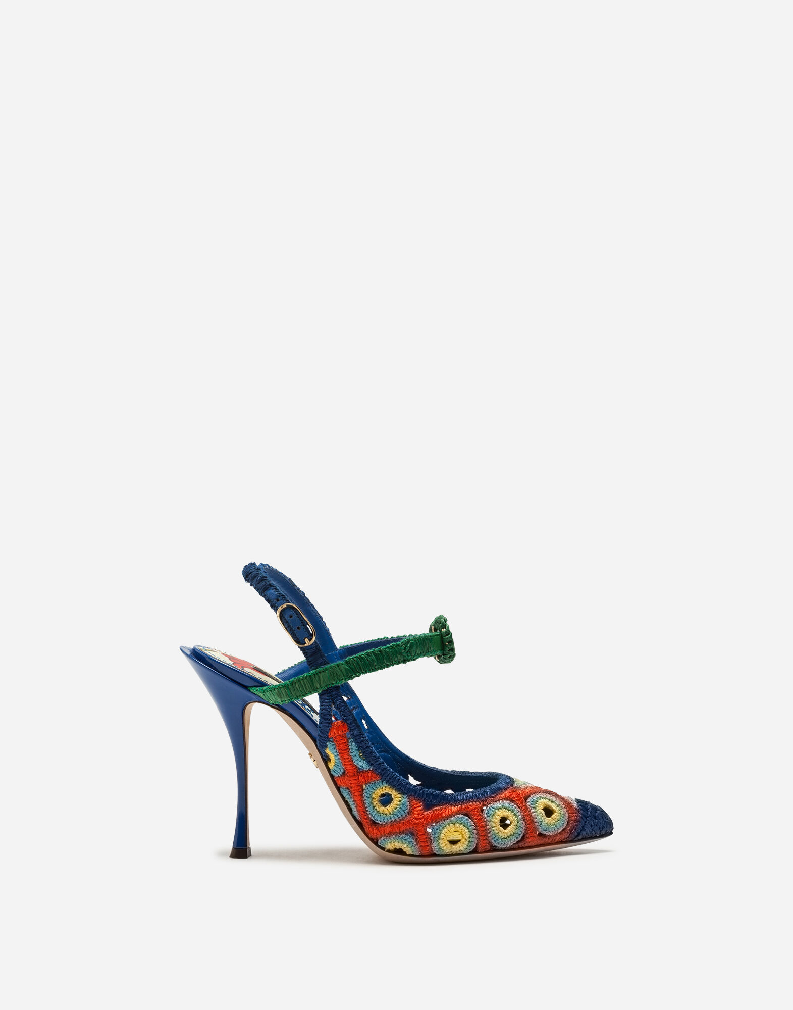 CROCHETED RAFFIA AND PATENT LEATHER SLINGBACKS