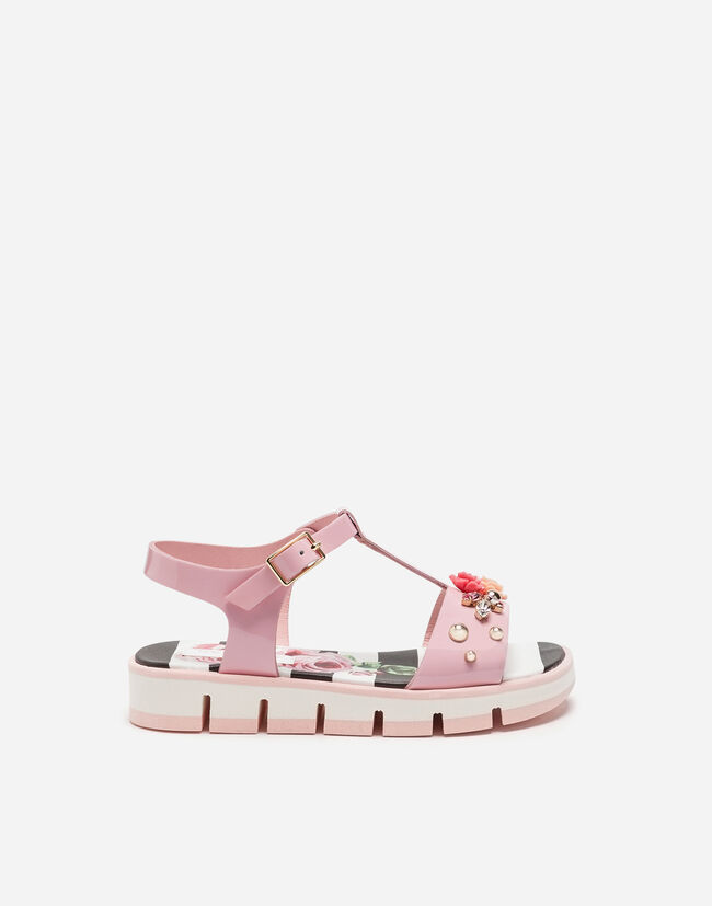 PATENT LEATHER SANDALS WITH APPLIQUÉS