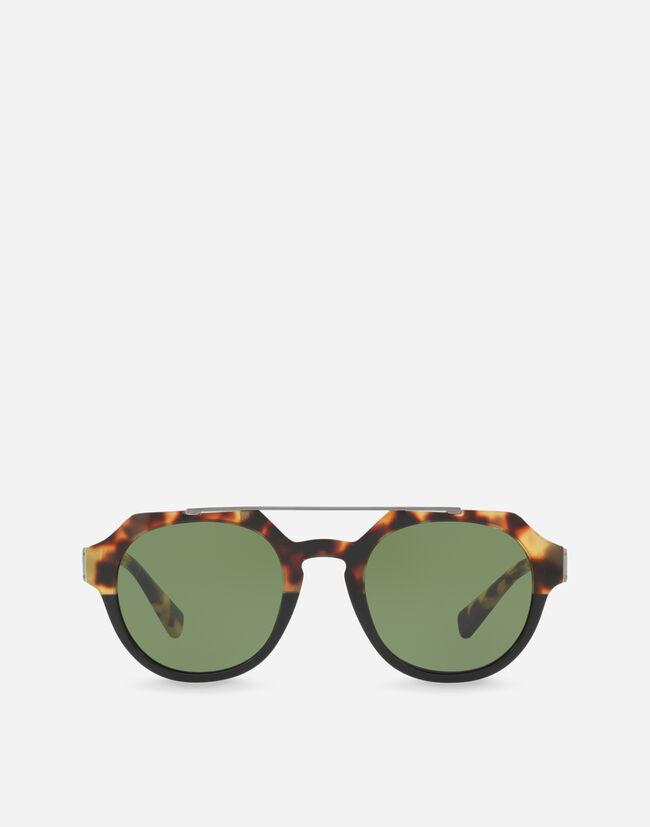 Dolce & Gabbana ROUND SUNGLASSES WITH A DOUBLE BRIDGE