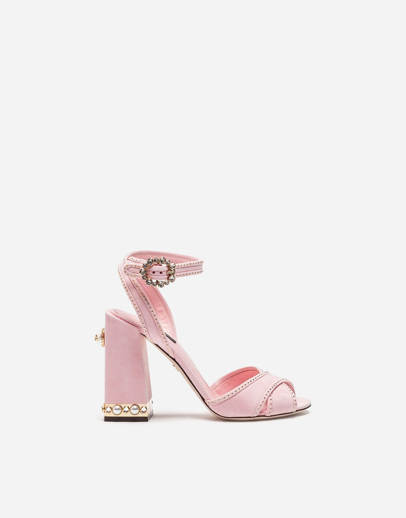 SUEDE SANDAL WITH JEWEL HEEL