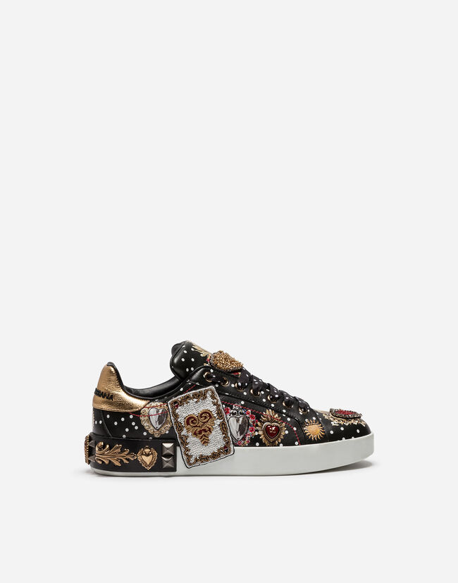 CALFSKIN PORTOFINO SNEAKERS WITH EMBROIDERY AND APPLIQUÉS