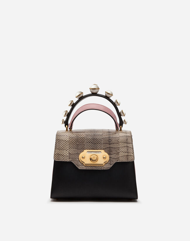 Dolce&Gabbana MEDIUM WELCOME BAG IN MIX OF MATERIALS
