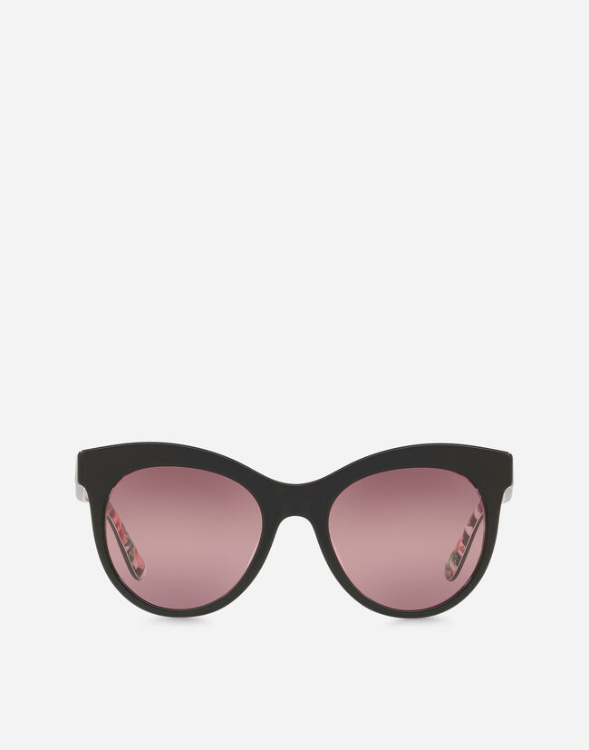 CAT-EYE SUNGLASSES WITH INTERIOR STRIPE AND ROSE PRINT