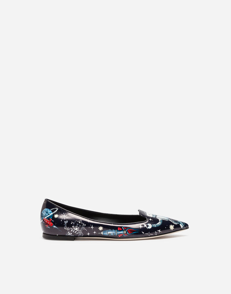 PRINTED LEATHER SLIPPERS