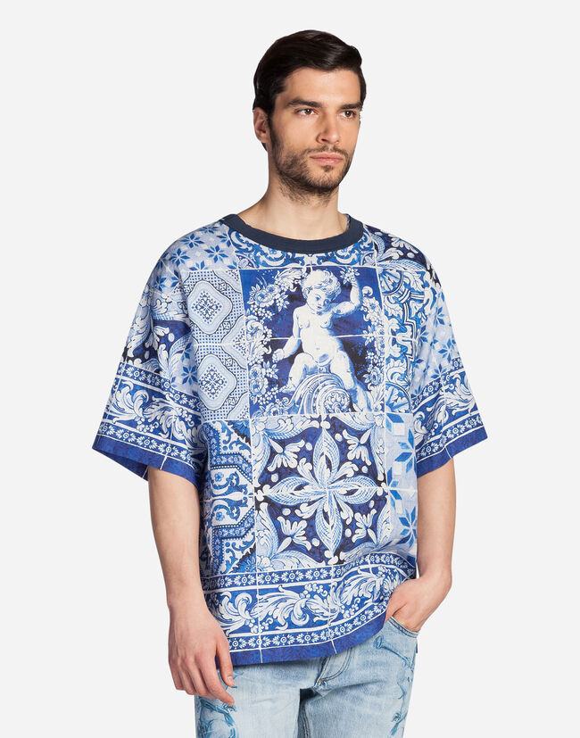 OVERSIZED T-SHIRT IN PRINTED LINEN