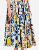 Dolce & Gabbana LONG COTTON DRESS WITH MAJOLICA PRINT
