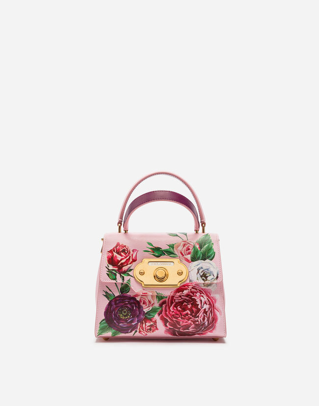 Dolce&Gabbana SMALL WELCOME BAG IN PEONY-PRINT BOARDED CALFSKIN