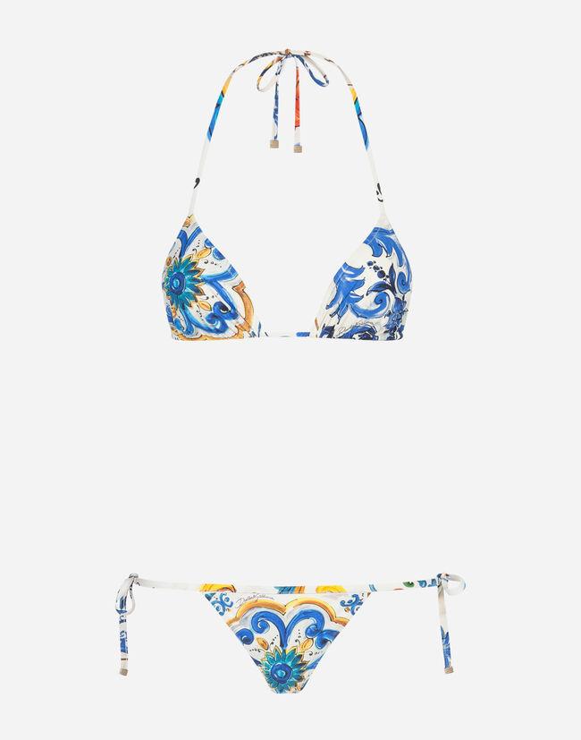 Dolce & Gabbana PRINTED BIKINI WITH TRIANGLE BIKINI TOP