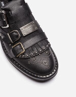 STUDDED LEATHER MONK STRAP SHOES