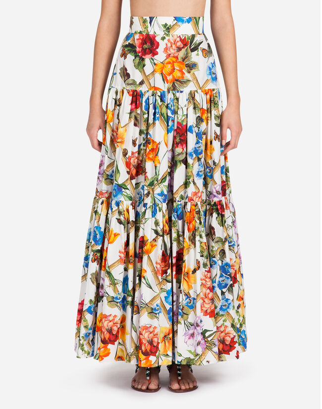 PRINTED COTTON SKIRT WITH RUFFLES
