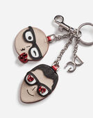 Dolce&Gabbana DAUPHINE CALFSKIN KEY RING WITH DESIGNERS' PATCH