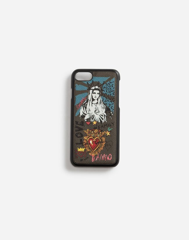 Dolce & Gabbana IPHONE 7/8 COVER IN PRINTED DAUPHINE CALFSKIN