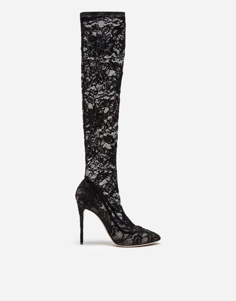 BOOT IN STRETCH LACE AND GROS GRAIN