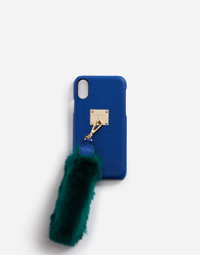 Dolce & Gabbana IPHONE X COVER WITH RABBIT FUR BRACELET ATTACHMENT
