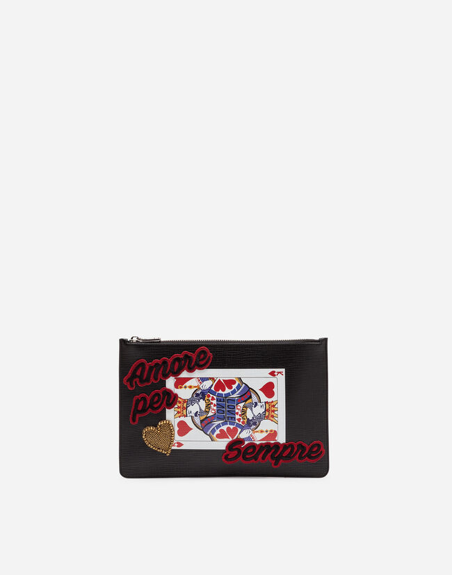PRINTED CALFSKIN DOCUMENT HOLDER WITH PATCH
