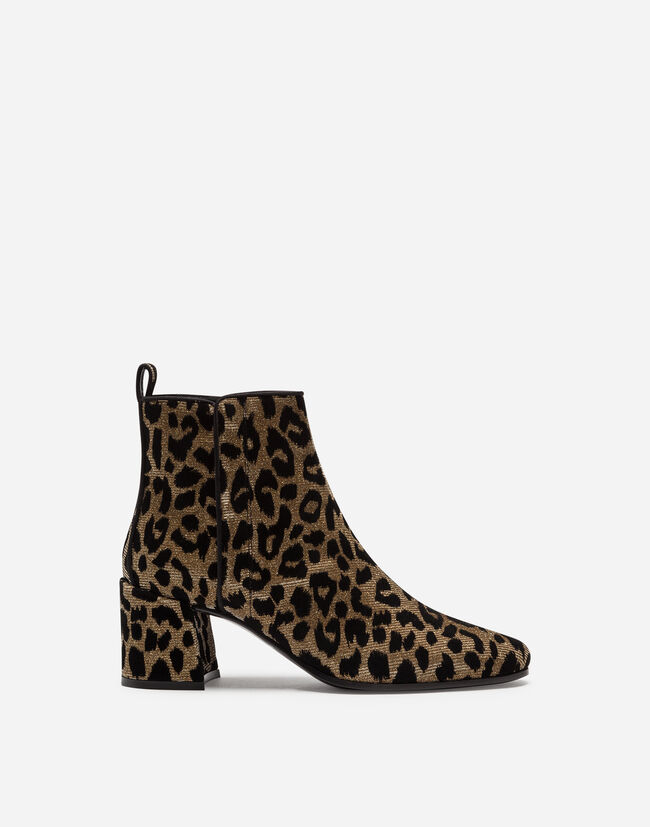 ANKLE BOOTS IN COLOR-CHANGING LEOPARD FABRIC