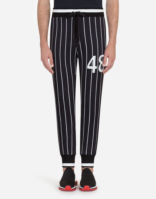 Dolce&Gabbana PRINTED COTTON JOGGING PANTS WITH PATCH