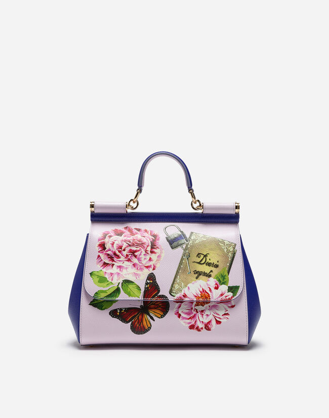 SICILY MEDIA BAG IN PRINTED DAUPHINE CALFSKIN