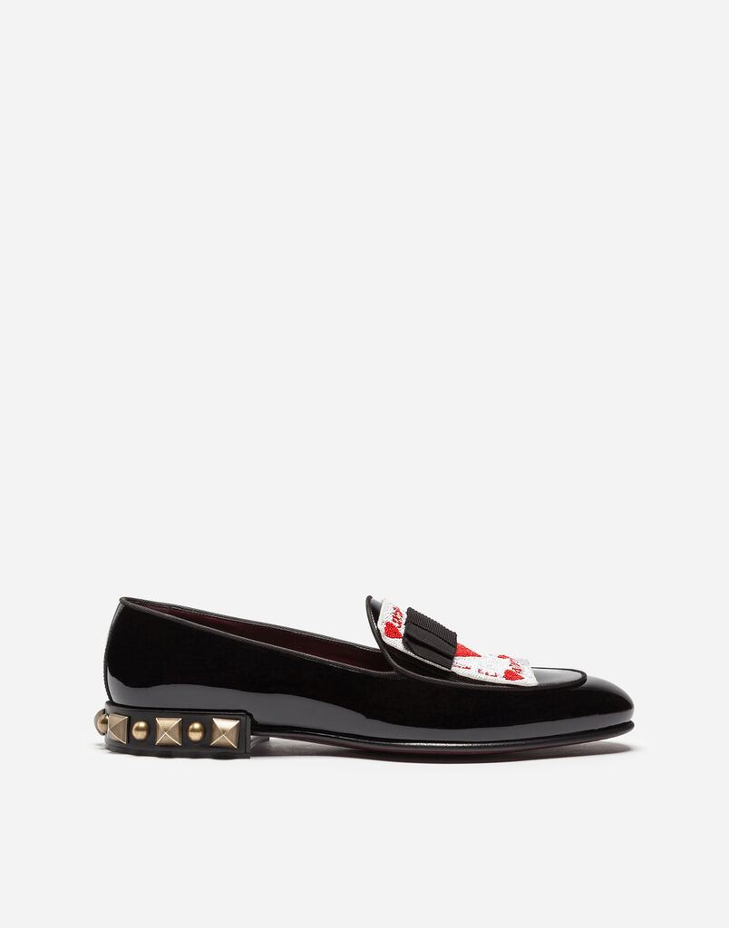 PATENT LEATHER SLIPPERS WITH EMBROIDERY