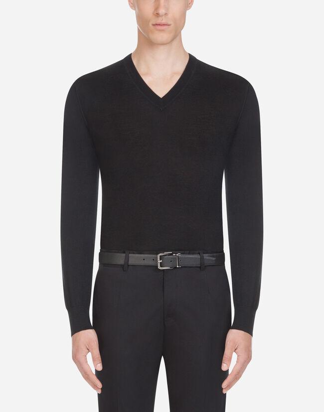 Dolce & Gabbana V-NECK SWEATER IN CASHMERE