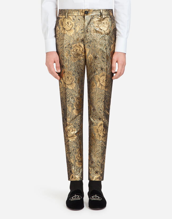 PANTS IN FLORAL JACQUARD WOOL
