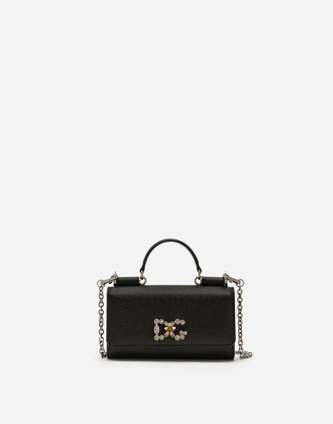 Dolce&Gabbana DAUPHINE CALFSKIN VON BAG WITH DG LOGO AND CRYSTALS