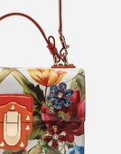 LUCIA TOP HANDLE BAG IN PRINTED CALFSKIN WITH EMBROIDERY