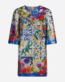 Dolce & Gabbana MOSAIC DRESS WITH SEQUINED MAJOLICA DETAIL