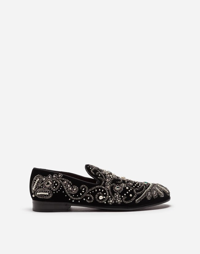 Dolce & Gabbana VELVET SLIPPERS WITH EMBROIDERY