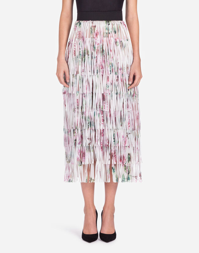 FLOUNCE SKIRT WITH FRINGING