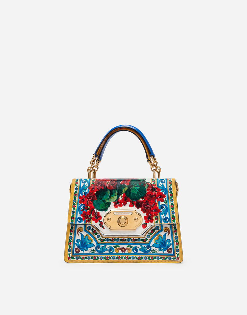 Dolce Gabbana Welcome Shoulder Bag In Printed Calfskin