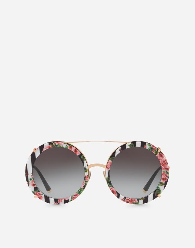 Dolce & Gabbana ROUND CLIP-ON SUNGLASSES IN GOLD METAL WITH STRIPE AND ROSE PRINT