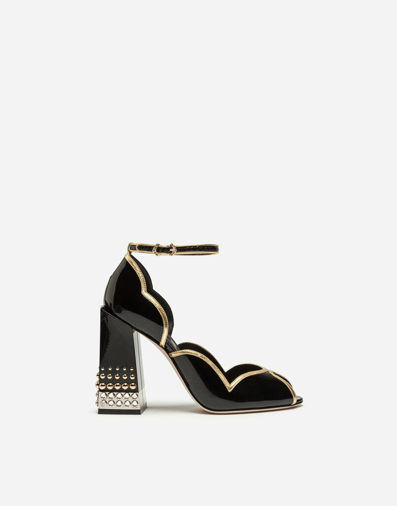 PEEP TOE D'ORSAY IN PATENT LEATHER WITH JEWEL HEEL