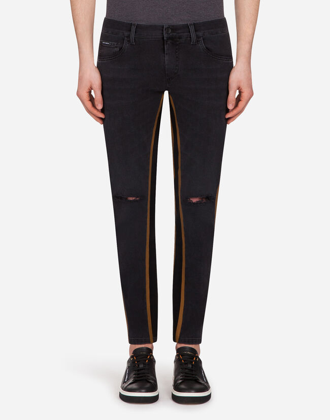 FIVE-POCKET PANTS WITH CONTRASTING STRIPES