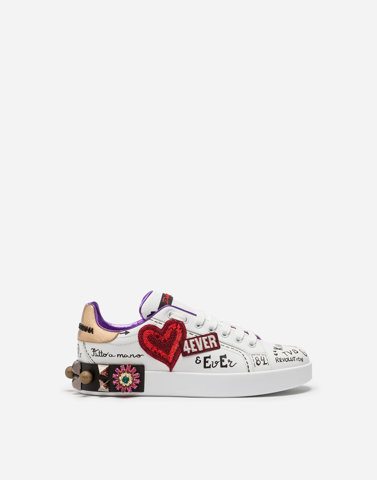 PRINTED CALFSKIN PORTOFINO SNEAKERS WITH PATCH AND EMBROIDERY