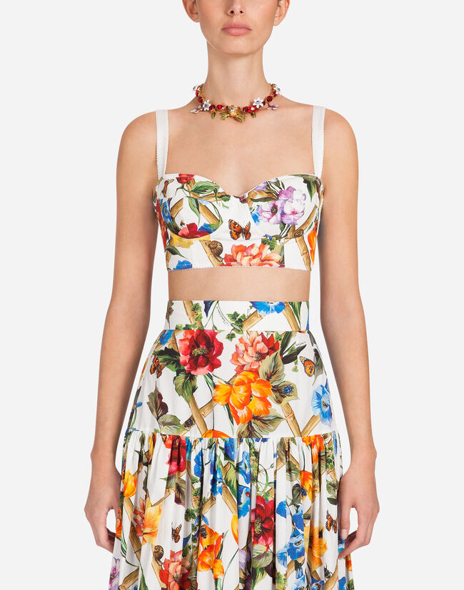 PRINTED COTTON BUSTIER TOP