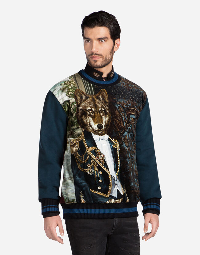 SWEATSHIRT IN PRINTED COTTON AND VELVET