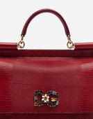 SICILY HANDBAG IN IGUANA PRINT CALFSKIN AND CRYSTAL DG LOGO PATCH
