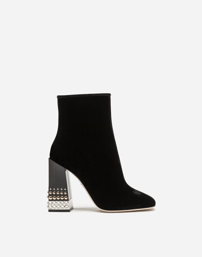 VELVET ANKLE BOOTS WITH JEWEL HEEL