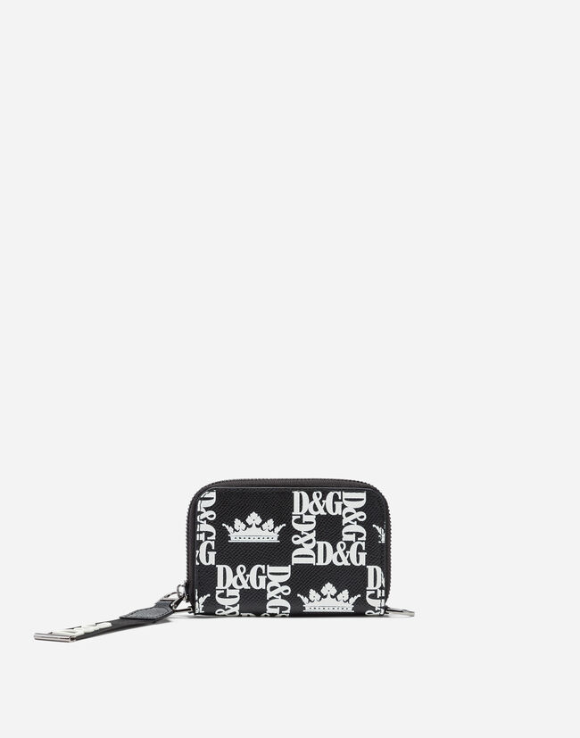 87655298f8 Small Leather Goods for Men   Dolce&Gabbana - ZIP-AROUND WALLET IN PRINTED  DAUPHINE CALFSKIN